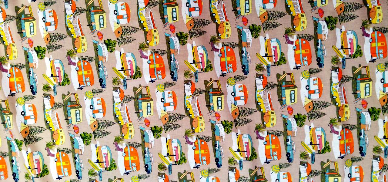 retro holidays motor camp aboriginal fabrics